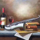 "Simple modern Hand painted oil painting on canvas""Saxophone""60x90CM(23.6""x35.4"")Unframed-05"