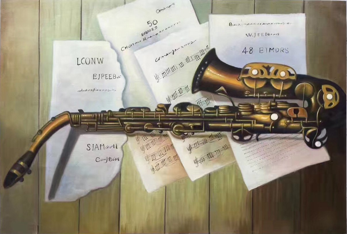 """Simple modern Hand painted oil painting on canvas""""Saxophone""""60x90CM(23.6""""x35.4"""")Unframed-08"""