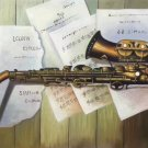 "Simple modern Hand painted oil painting on canvas""Saxophone""60x90CM(23.6""x35.4"")Unframed-08"