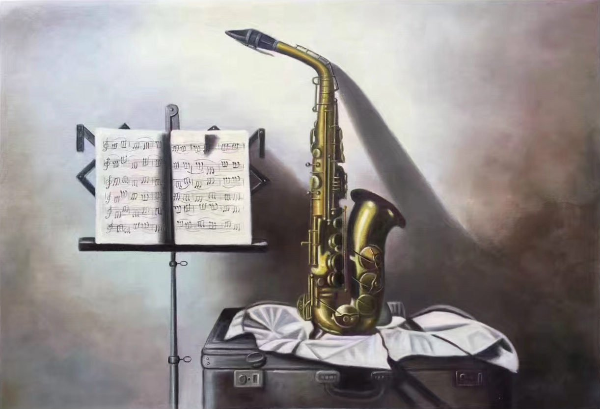 """Simple modern Hand painted oil painting on canvas""""Saxophone""""60x90CM(23.6""""x35.4"""")Unframed-09"""