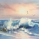 """Simple modern Hand painted oil painting on canvas""""Waves""""60x120CM(23.6""""x47.2"""")Unframed-04"""