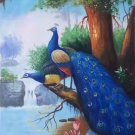 """Simple modern Hand painted oil painting on canvas""""Gorgeous peacock""""60x120CM(23.6""""x47.2"""")Unframed-16"""