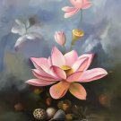 """Chinese style Hand painted oil painting on canvas""""lotus""""60x90CM(23.6""""x35.4"""")Unframed-25"""