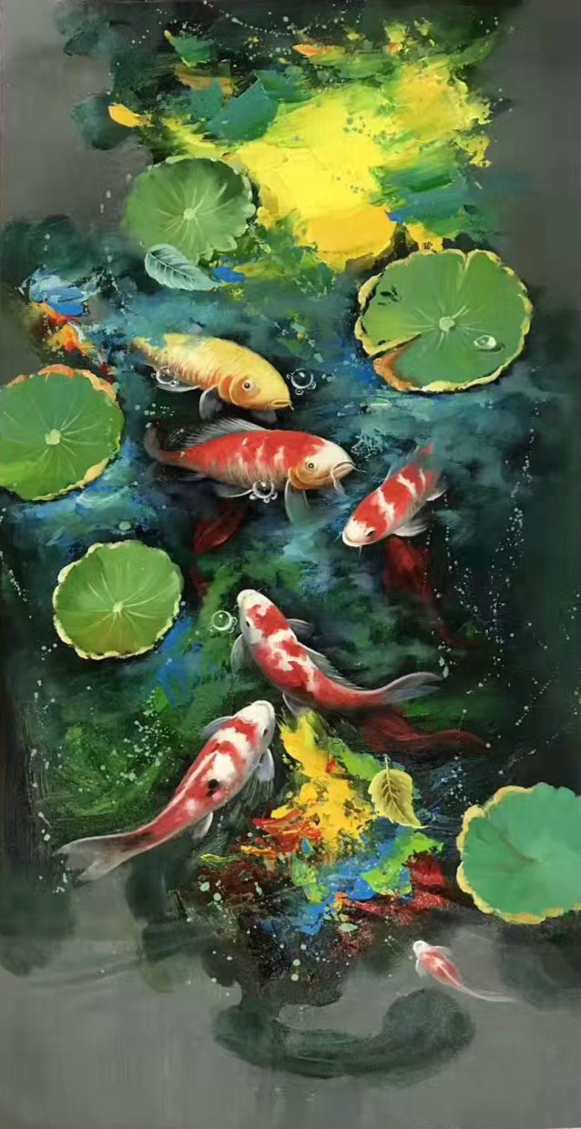 """Chinese style Hand painted oil painting on canvas""""carp""""60x120CM(23.6""""x47.2"""")Unframed-07"""