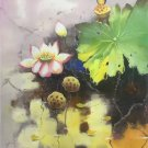 """Chinese style Hand painted oil painting on canvas""""lotus""""60x90CM(23.6""""x35.4"""")Unframed-32"""