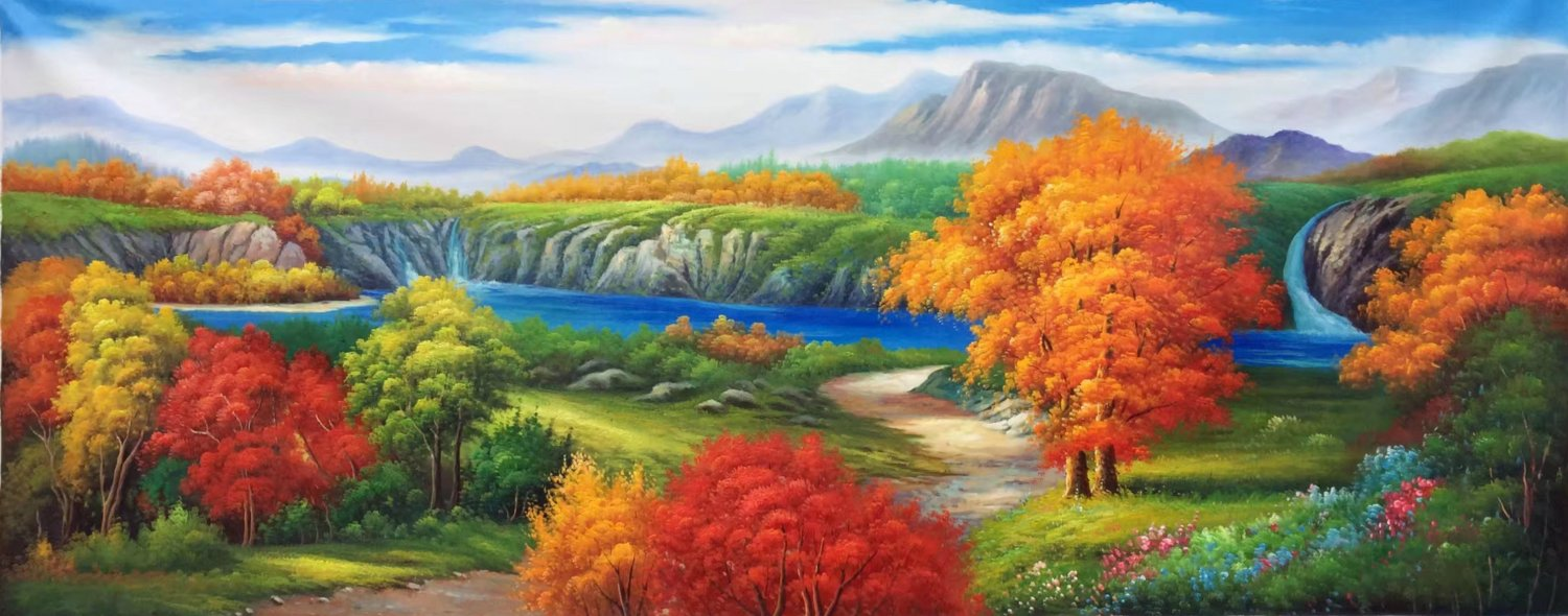 """American style Hand painted oil painting on canvas""""Creek""""70x180CM(27.6""""x70.9"""")Unframed-97"""