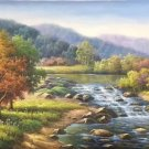 "American style Hand painted oil painting on canvas""Creek""70x180CM(27.6""x70.9"")Unframed-99"