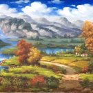 """American style Hand painted oil painting on canvas""""Creek""""70x180CM(27.6""""x70.9"""")Unframed-104"""