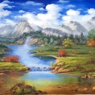 """American style Hand painted oil painting on canvas""""Creek""""70x180CM(27.6""""x70.9"""")Unframed-105"""