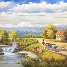 "Hand painted oil painting on canvas""Image of the countryside""70x180CM(27.6""x70.9"")Unframed-47"