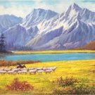 "American style Hand painted oil painting on canvas""Sheep""70x180CM(27.6""x70.9"")Unframed-07"