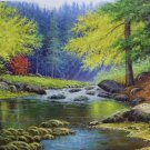 """American style Hand painted oil painting on canvas""""Creek""""70x180CM(27.6""""x70.9"""")Unframed-116"""