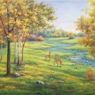 """American style Hand painted oil painting on canvas""""Creek""""70x180CM(27.6""""x70.9"""")Unframed-122"""