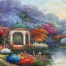 """American style Hand painted oil painting on canvas""""Private garden""""60x120CM(23.6""""x47.2"""")Unframed-17"""