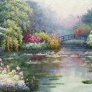 """American style Hand painted oil painting on canvas""""Private garden""""60x120CM(23.6""""x47.2"""")Unframed-22"""