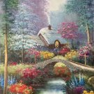 """American style Hand painted oil painting on canvas""""Private garden""""60x120CM(23.6""""x47.2"""")Unframed-24"""