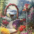 """American style Hand painted oil painting on canvas""""Private garden""""60x120CM(23.6""""x47.2"""")Unframed-28"""