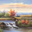"""American style Hand painted oil painting on canvas""""Creek""""70x180CM(27.6""""x70.9"""")Unframed-142"""