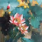 """Chinese style Hand painted oil painting on canvas""""lotus""""60x120CM(23.6""""x47.2"""")Unframed-50"""