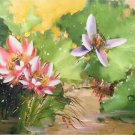 "Chinese style Hand painted oil painting on canvas""lotus""60x120CM(23.6""x47.2"")Unframed-52"