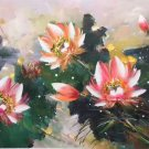 "Chinese style Hand painted oil painting on canvas""lotus""60x120CM(23.6""x47.2"")Unframed-54"