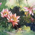 """Chinese style Hand painted oil painting on canvas""""lotus""""60x120CM(23.6""""x47.2"""")Unframed-59"""