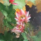 "Chinese style Hand painted oil painting on canvas""lotus""60x120CM(23.6""x47.2"")Unframed-60"