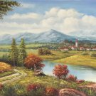 """Hand painted oil painting on canvas""""Image of the countryside""""70x180CM(27.6""""x70.9"""")Unframed-61"""