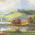 """American style Hand painted oil painting on canvas""""Creek""""70x180CM(27.6""""x70.9"""")Unframed-152"""