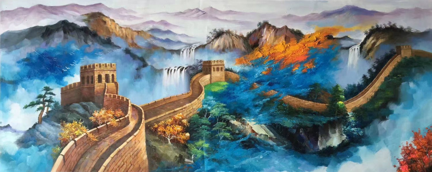 "Chinese style Hand painted oil painting on canvas""Great Wall""70x180CM(27.6""x70.9"")Unframed-06"