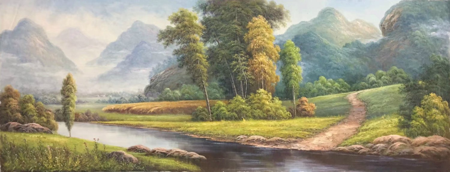 """American style Hand painted oil painting on canvas""""Creek""""70x180CM(27.6""""x70.9"""")Unframed-153"""