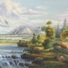 """American style Hand painted oil painting on canvas""""Creek""""70x180CM(27.6""""x70.9"""")Unframed-157"""