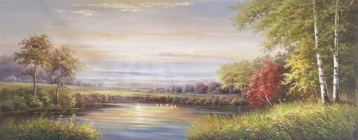 """American style Hand painted oil painting on canvas""""Creek""""70x180CM(27.6""""x70.9"""")Unframed-174"""