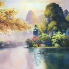 """Hand painted oil painting on canvas""""Creek""""80x120CM(33""""x48"""")Unframed-176"""
