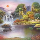 """Hand painted oil painting on canvas""""Creek""""80x180CM(33""""x72"""")Unframed-177"""