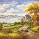 "Hand painted oil painting on canvas""Image of the countryside""50x60CM(19.7""x23.6"")Unframed-65"