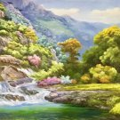 "American style Hand painted oil painting on canvas""Creek""70x180CM(27.6""x70.9"")Unframed-185"
