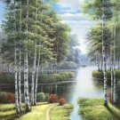 """Nordic style Hand painted oil painting on canvas""""forest""""60x120CM(23.6""""x47.2"""")Unframed-53"""