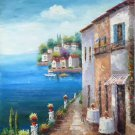 "Mediterranean style Hand painted oil painting on canvas""Sea view Villa""90x120CM(36""x48"")Unframed-74"