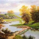 """Hand painted oil painting on canvas""""Creek""""50x60CM(19.7""""x23.6"""")Unframed-195"""