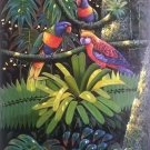 """Hand painted oil painting on canvas""""Colorful parrot""""50x100CM(19.7""""x39.4"""")Unframed-01"""