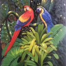 "Hand painted oil painting on canvas""Colorful parrot""50x100CM(19.7""x39.4"")Unframed-02"