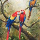 "Hand painted oil painting on canvas""Colorful parrot""80x160CM(33""x63"")Unframed-07"