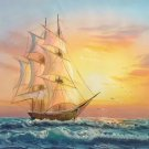 """Simple modern Hand painted oil painting on canvas""""Adventure sailboat""""50x60CM(19.7""""x23.6"""")Unframed-32"""