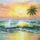 """Simple modern Hand painted oil painting on canvas""""Waves""""60x120CM(23.6""""x47.2"""")Unframed-10"""