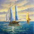 "Simple modern Hand painted oil painting on canvas""Adventure sailboat""60x90CM(23.6""x35.4"")Unframed-40"