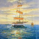 """Simple modern Hand painted oil painting on canvas""""Adventure sailboat""""60x90CM(23.6""""x35.4"""")Unframed-41"""