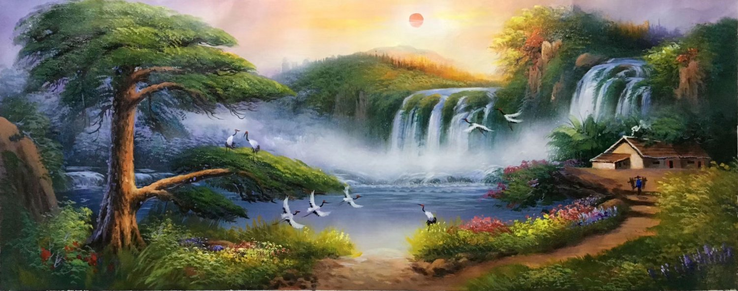 """American style Hand painted oil painting on canvas""""Creek""""70x180CM(27.6""""x70.9"""")Unframed-208"""