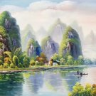 """Hand painted oil painting on canvas""""Creek""""60x120CM(23.6""""x47.2"""")Unframed-212"""