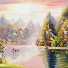 """Hand painted oil painting on canvas""""Creek""""60x120CM(23.6""""x47.2"""")Unframed-213"""